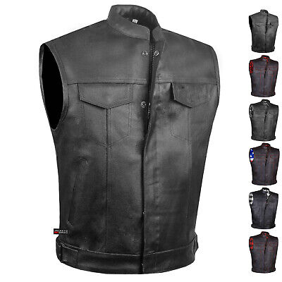 SOA Men's Leather Motorcycle Concealed Gun Pockets Armor Biker Club Vest