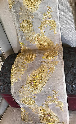 18th Century French Lyon Silk Brocade Gold Silver Metallic   Rose Stumpwork