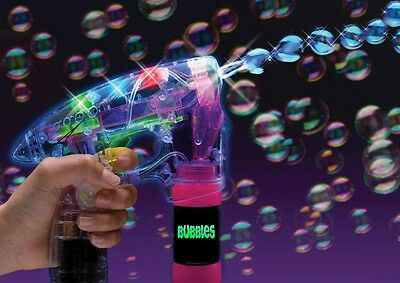 24 B/O FLASHING LED BUBBLE GUN Shooter Kids Light Up Bubbles Machine - BULK BUY