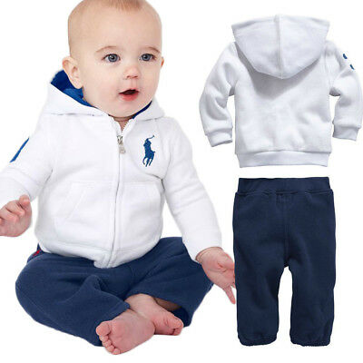 POLO 2PC Kids Toddler Baby Boys Sportswear Coat Sets Hoody+Pants Outfits 6M-4Y