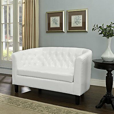 White Loveseat Lounge - Sectional Living Room Furniture Antique Vintage Look Arm