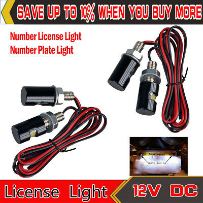 4pcs White LED SMD Motorcycle Car License Plate Screw Bolt Light Lamp Bulb 12V