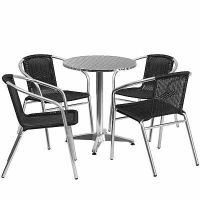 23.5'' Round Aluminum Indoor-Outdoor Table with 4 Black Rattan Chairs