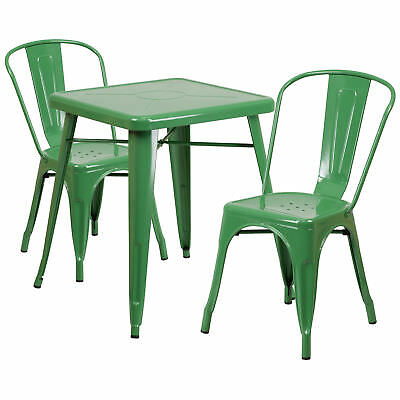 23.75'' Square Green Metal Indoor-Outdoor Table Set with 2 Stack Chairs
