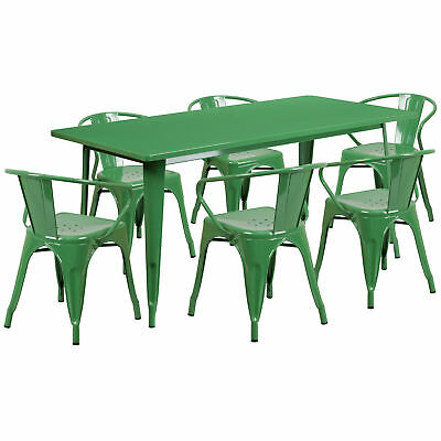 31.5'' x 63'' Rectangular Green Metal Table Set with 6 Arm Chairs