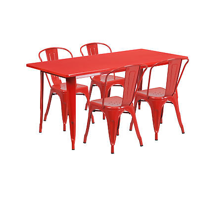 31.5'' x 63'' Rectangular Red Metal Table Set with 4 Stack Chairs