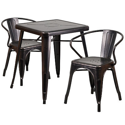 23.75'' Square Black-Antique Gold Metal Table Set with 2 Arm Chairs