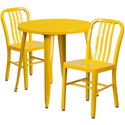 Flash Furniture 30'' Round Yellow Metal Table Set With 2 Vertical Chairs