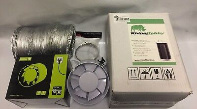 "6"" Inch Fan & Filter Extraction Kit Rhino Hobby Carbon Filter Hydroponics"
