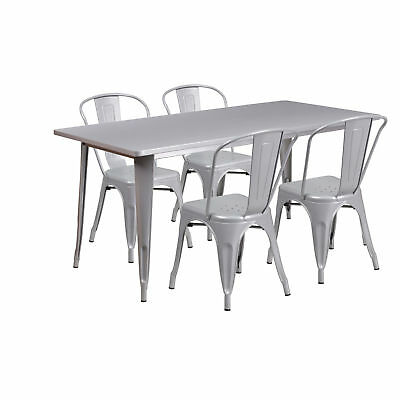 31.5'' x 63'' Rectangular Silver Metal Table Set with 4 Stack Chairs