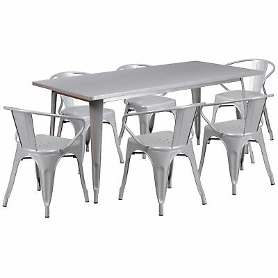 31.5'' x 63'' Rectangular Silver Metal Table Set with 6 Arm Chairs
