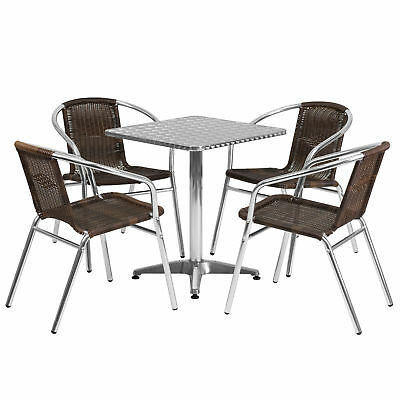 23.5'' Square Aluminum Indoor-Outdoor Table with 4 Dark Brown Rattan Chairs
