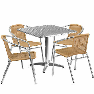 31.5'' Square Aluminum Indoor-Outdoor Table with 4 Beige Rattan Chairs