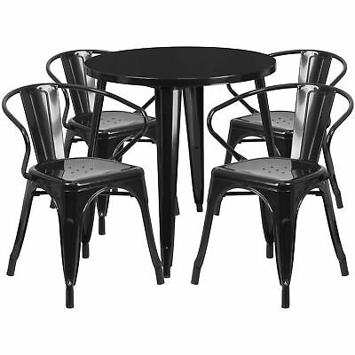 Flash Furniture 30'' Round Black Metal Table Set With 4 Arm Chairs