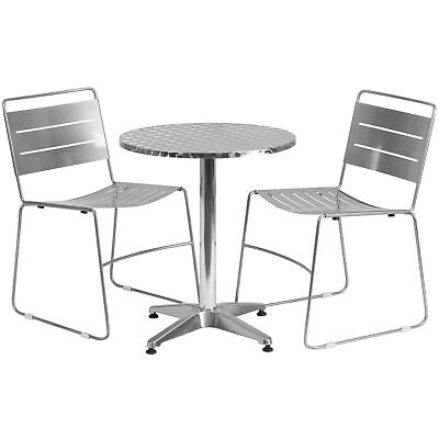 23.5'' Round Aluminum Indoor-Outdoor Table with 2 Silver Metal Stack Chairs