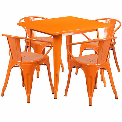 31.5'' Square Orange Metal Indoor-Outdoor Table Set with 4 Arm Chairs
