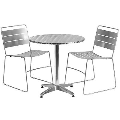 27.5'' Round Aluminum Indoor-Outdoor Table with 2 Silver Metal Stack Chairs