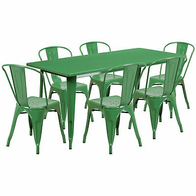 31.5'' x 63'' Rectangular Green Metal Table Set with 6 Stack Chairs