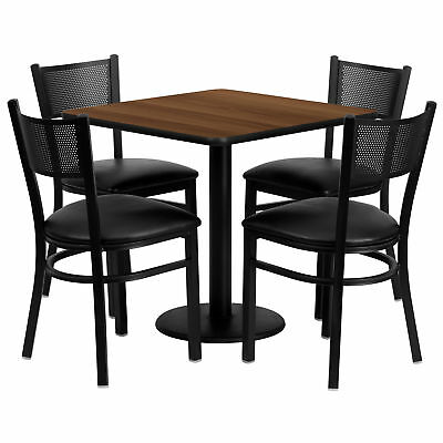 30'' Square Walnut Laminate Table Set with 4 Grid Back Metal Chairs