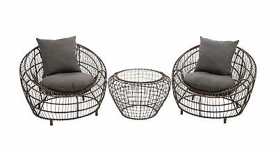 Contemporary And Modern Grand Set Of 3 Metal Chair With Table Home Decor