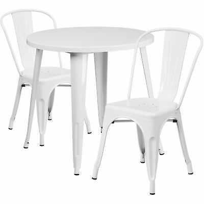 Flash Furniture 30'' Round White Metal Table Set With 2 Cafe Chairs