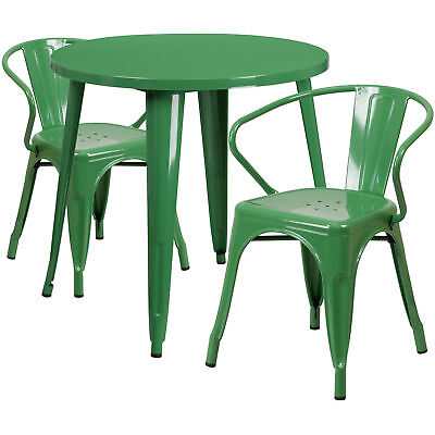 Flash Furniture 30'' Round Green Metal Table Set With 2 Arm Chairs
