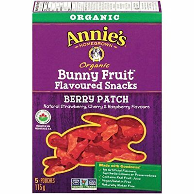 Annie's Homegrown Organic Berry Patch Bunny Fruit Snacks  5-Count 115 Gram