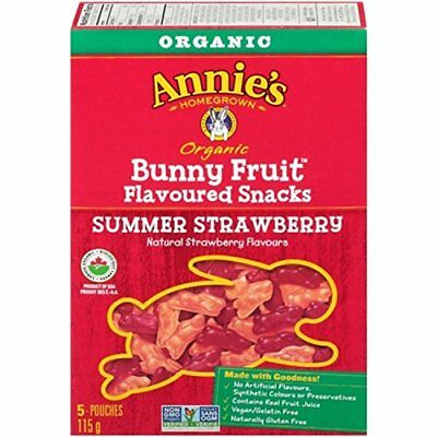 Annie's Homegrown Organic Summer Strawberry Bunny Fruit Snacks 5-Count 115 Gram