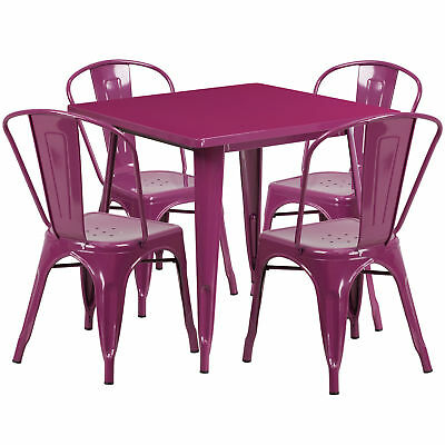 Flash Furniture 31.5'' Square Purple Metal Table Set With 4 Stack Chairs