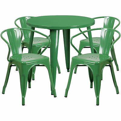 Flash Furniture 30'' Round Green Metal Table Set With 4 Arm Chairs