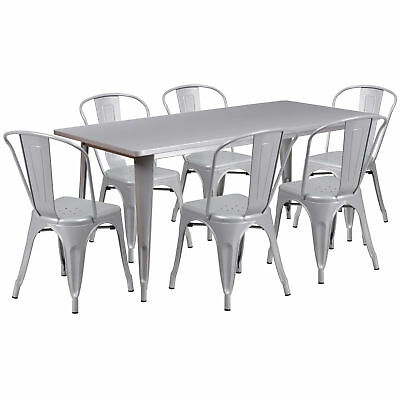 31.5'' x 63'' Rectangular Silver Metal Table Set with 6 Stack Chairs