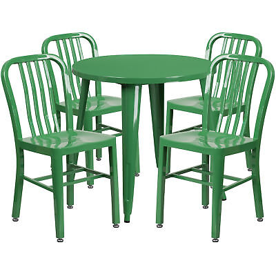 Flash Furniture 30'' Round Green Metal Table Set With 4 Vertical Chairs
