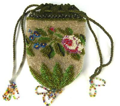 Antique Or Vintage Silk Lined Beaded Beadwork Drawstring Purse Pouch Reticule