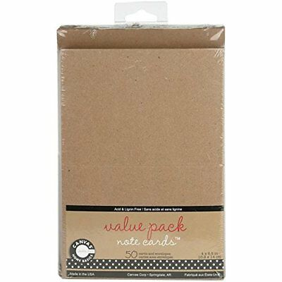 Canvas Corp Value Pack Cards and Envelopes 4-Inchx5.5-Inch 50/Package-Kraft