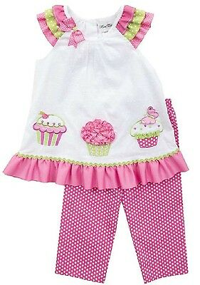 Rare Editions Baby Girls Gorgeous Embroidered Summer Cupcake Capri Set 12 18 24