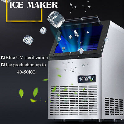 40-50kg/24h Commercial Auto Frozen Ice Maker Ice Cube Making Machine Home 220V