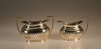 Mappin and Webb Sterling Silver Queen Anne Cream and Sugar Set, London, England