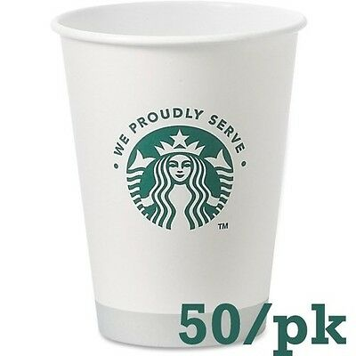 Starbucks White Disposable Hot Paper Cup, 12 Ounce, 50 Pack, New, Free Shipping