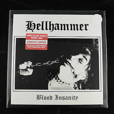 "HELLHAMMER Blood Insanity 7"" EP WHITE Celtic Frost Morbid Angel NEW SEALED"