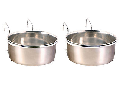 2 x Coop Cup Stainless Steel Bowl Water Holder Crate Parrot Dog 600ml 0.6l 2Pack