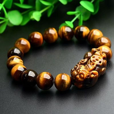 12mm Yellow Tiger's Eye Stone Pi Yao /Pi Xiu Bracelet For Wealth Luck