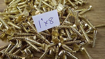 "bag of 50  1"" x 8 solid brass countersunk slotted head wood screws traditional"
