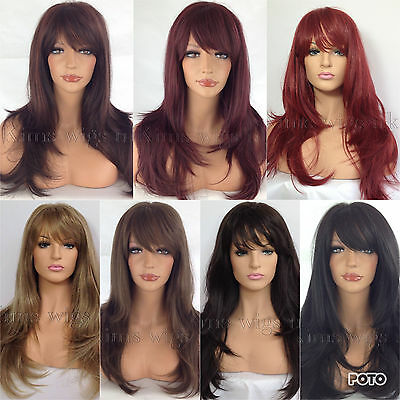 Ladies Womens Wig Long Hair Heat Resistant Layered Black Brown Blonde Red