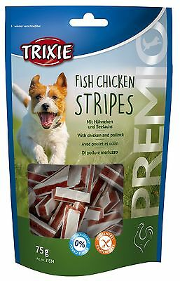 Trixie Fish Chicken Stripes Pollock 75g Dog Treat Training Gluten Free