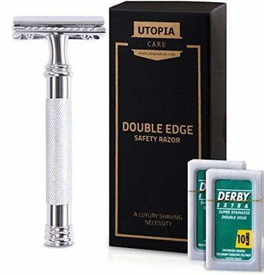 Double Edge Safety Razor with 20 Derby Blades - Chrome Finish 4 inch Long Han...