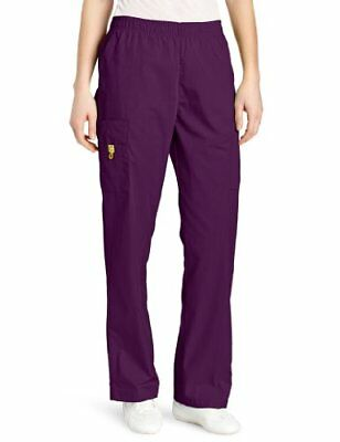 WonderWink Women's Scrubs Quebec Full Elastic Cargo Pant Eggplant Small