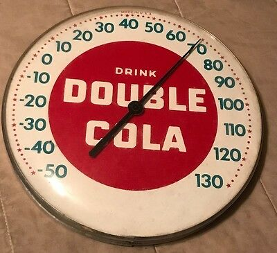 Vintage Drink Double Cola Round Glass Dome Advertising Thermometer *Works Well*