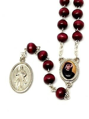 Red wooden Divine Mercy rosary beads in box