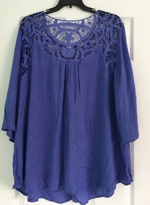 44308d3c93d Roaman s Women s Plus Size 22W Purple Hollow Blouse Lacy Loose Summer ...