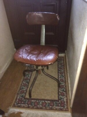 Vintage machinists industrial factory swivel chair Leabank  Rare Tan-sad